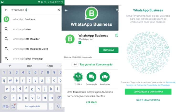 Passos para download do WhatsApp Business